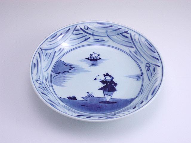 有田焼 青花 長崎紋玉渕7寸スープ皿
