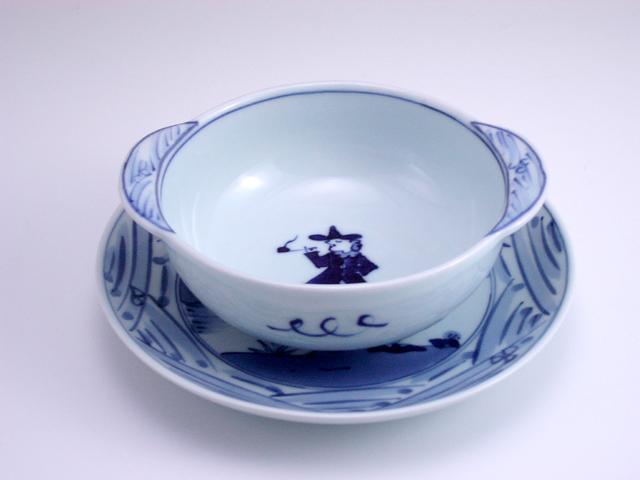 長崎紋丸耳付グラタン碗皿 しん窯 青花