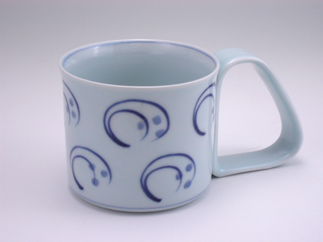 水草倒れにくいマグカップ(大) しん窯 青花