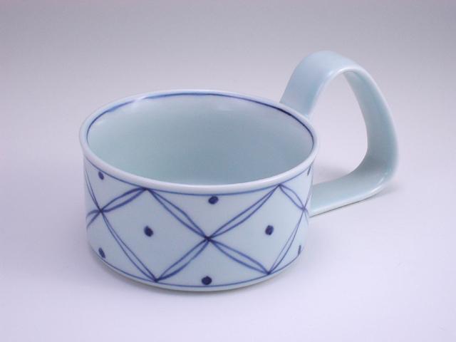 七宝地紋倒れにくいスープカップ(大) しん窯 青花