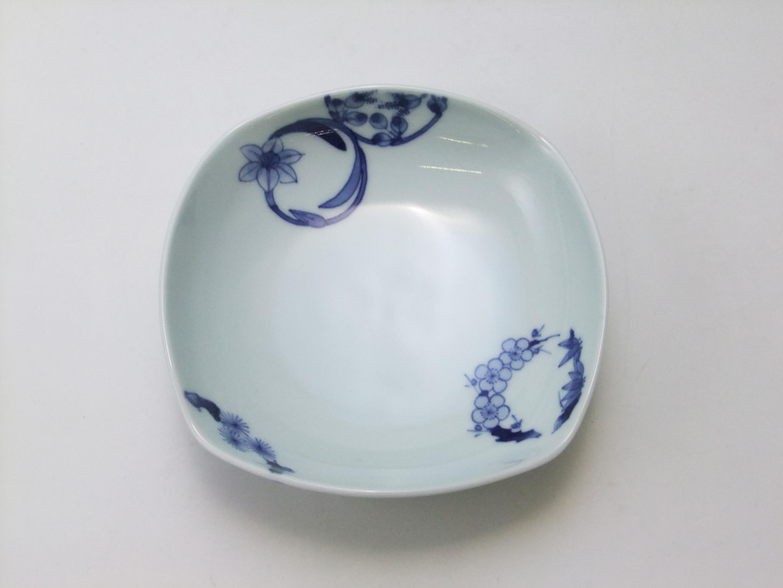 花輪四角鉢(ミニ) 青花 匠