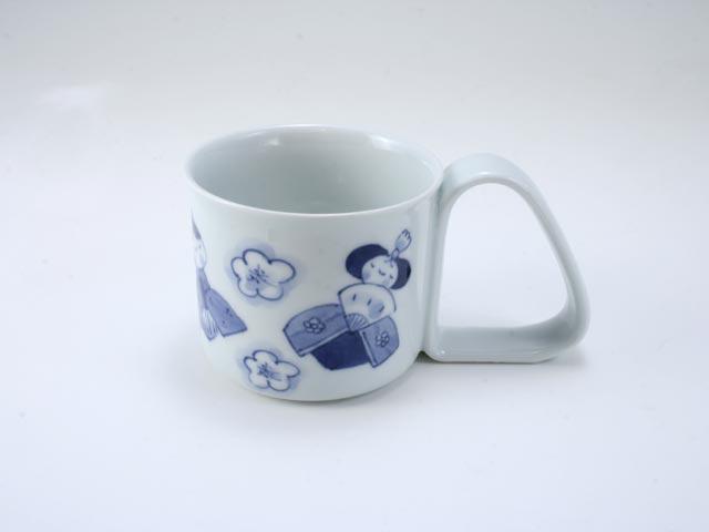 ひな人形倒れにくいマグカップ(小) しん窯 青花