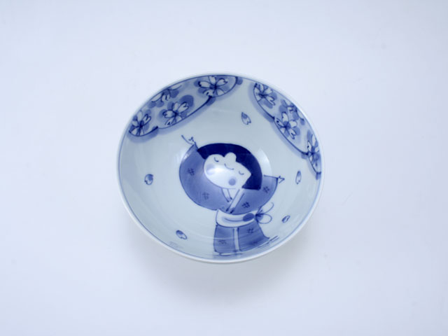 桜物語3.8寸丸飯碗 しん窯 青花