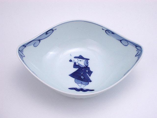 有田焼 青花 パイプ異人舟型小鉢