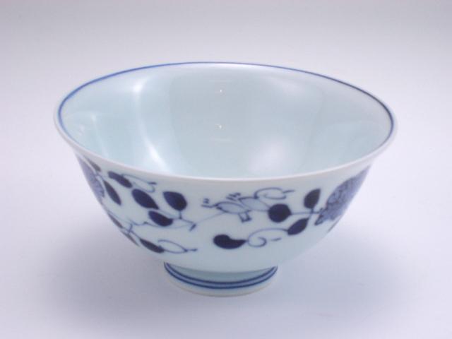 ばら絵3.8寸反飯碗 しん窯 青花