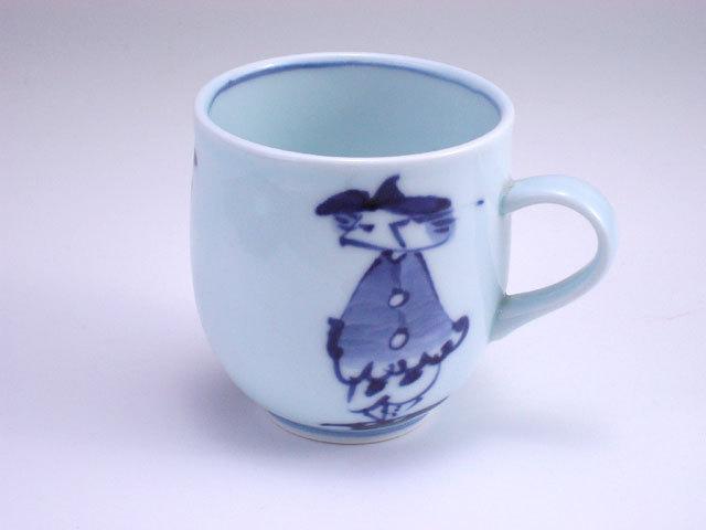 有田焼 青花 カール紅毛人反マグカップ
