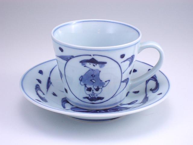 流水濃マント異人そば型コーヒー碗皿 しん窯 青花