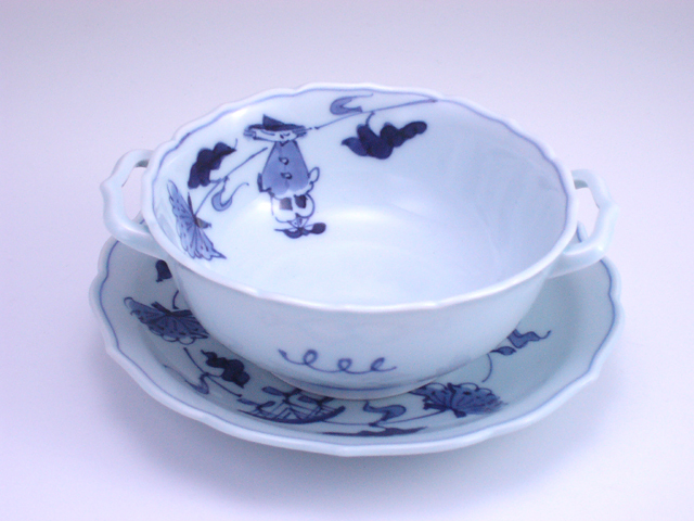 牡丹帆船耳付スープ碗皿 しん窯 青花
