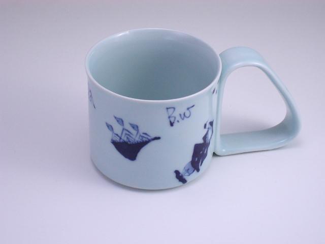 異人づくし倒れにくいマグカップ(大) しん窯 青花