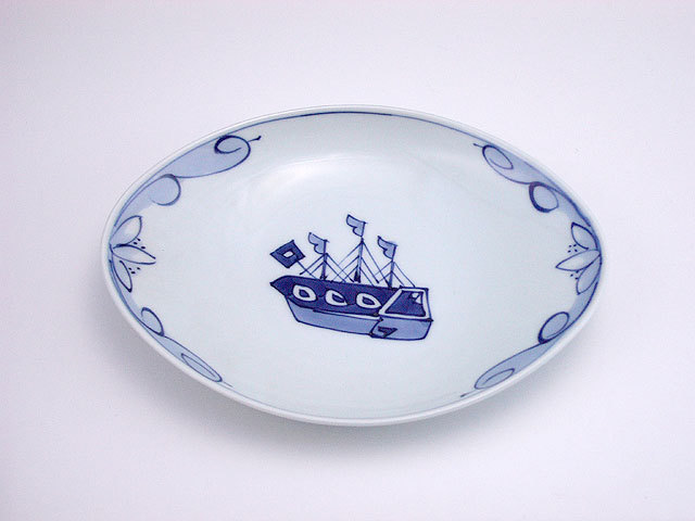 有田焼 青花 オランダ船舟型小皿