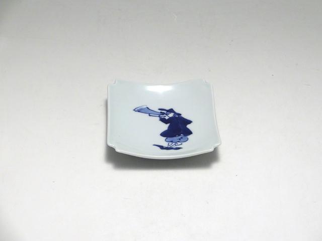 トランペット隅切角小皿 しん窯 青花