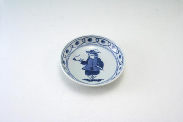 有田焼 青花 パイプ異人3.6寸深小皿