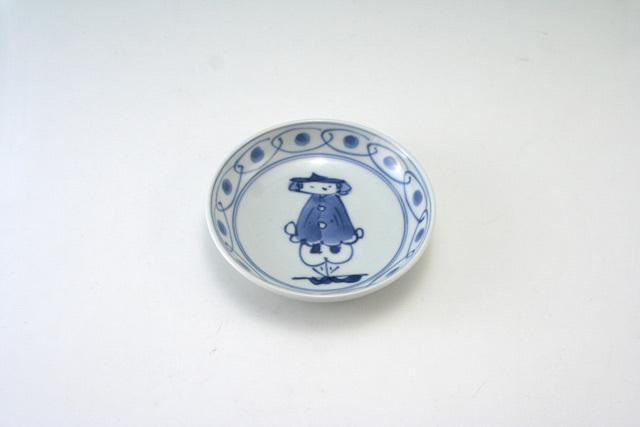 有田焼 青花 マント異人3.6寸深小皿