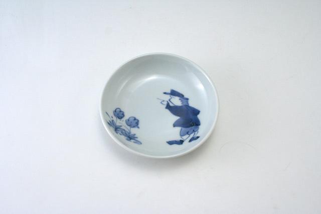 有田焼 青花 紅毛人3.6寸深小皿