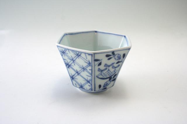 帆船地紋六角小鉢