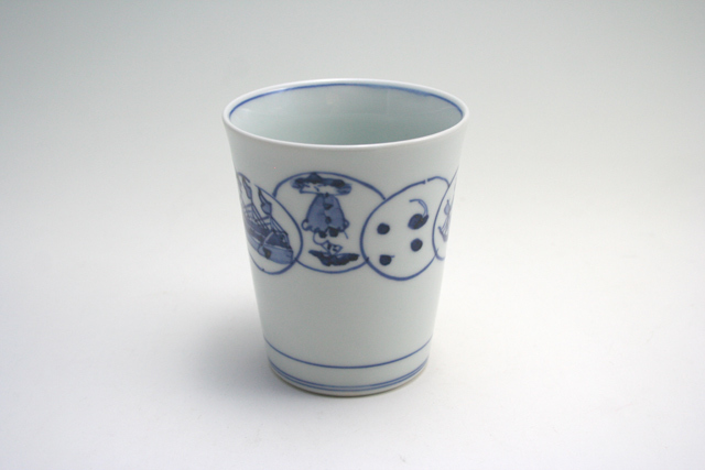 有田焼 青花 丸紋異人ミルクカップ
