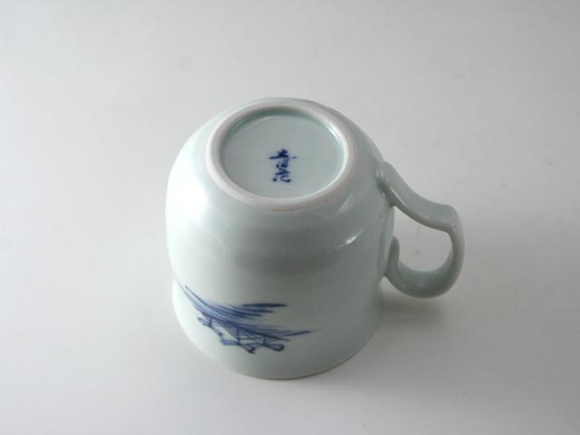 有田焼 青花 貴婦人と異人フタ付きマグカップ