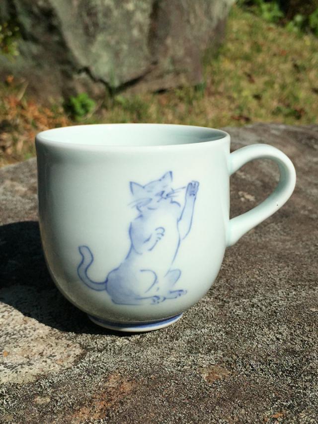 まねきネコミニマグカップ しん窯 青花