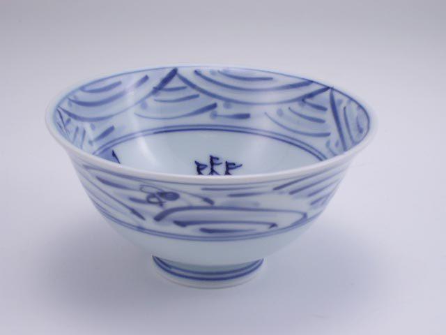 長崎紋3.8寸反飯碗 しん窯 青花