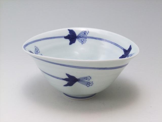 つるりんどう二方押楕円鉢 青花 匠