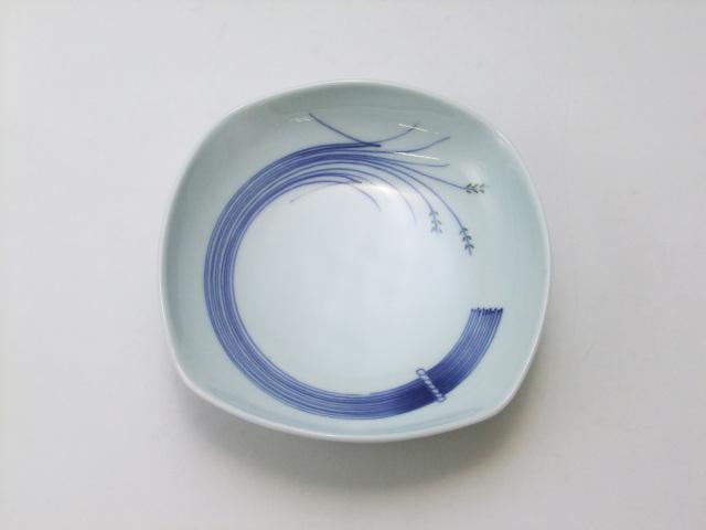 稲穂(緑)四角鉢(ミニ) 青花 匠