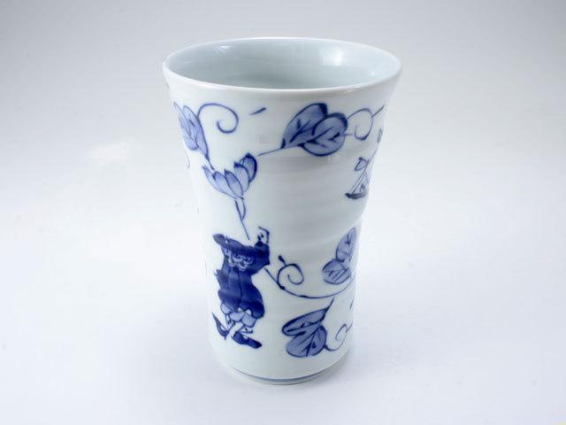 唐草異人手作りフリーカップ(大) しん窯 青花