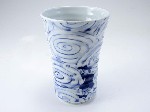 渦濃帆船手作りフリーカップ(大) しん窯 青花