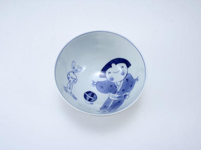 手まりうた3.8寸丸飯碗 しん窯 青花