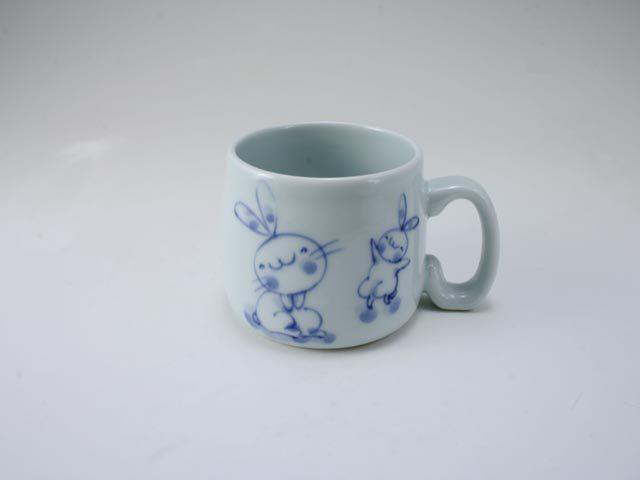 親子うさぎ子供用マグカップ しん窯 青花