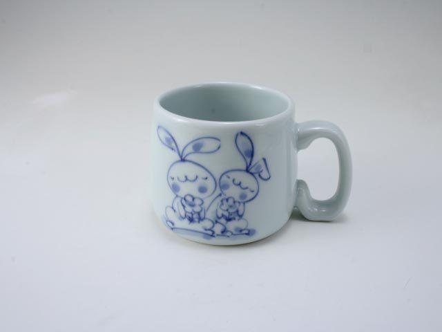 花うさぎ子供用マグカップ しん窯 青花