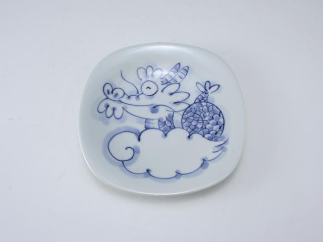 干支たつ四方丸皿 しん窯 青花