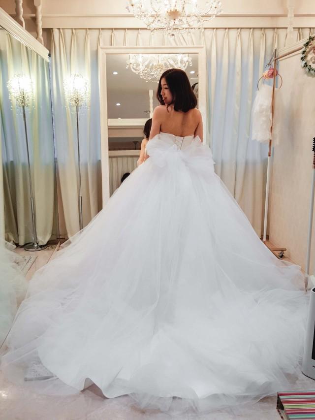 チュールのバレリーナ ウェディングドレス ふわふわ ボリューム