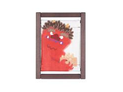 【洛柿庵】ミニ木枠タペストリー「鬼の豆もらい」