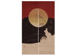 【洛柿庵】のれん「満月うさぎ」