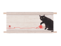 【洛柿庵】ミニ天軸タペストリー「黒猫と毛糸」
