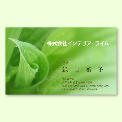 デザイン名刺印刷 エコグリーンA(片面)ヨコ型100枚