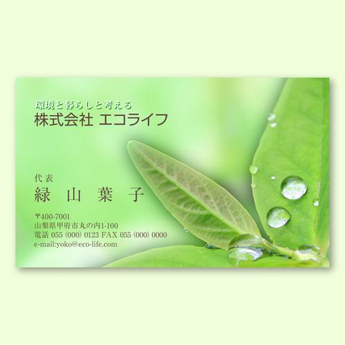デザイン名刺印刷 エコグリーンB(片面)ヨコ型100枚
