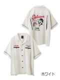 【X-girl(エックスガール)×Delicious Pizza】BOWLING SHIRT 05171402 ボーリングシャツ レディース