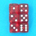 麻雀 サイコロ 赤スケルトン 6個セット15mm