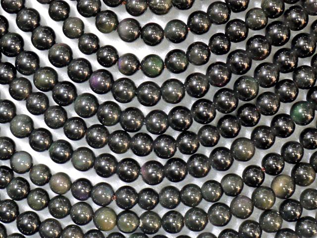 レインボーオブシディアン 6ミリ 【bz-rainbowobsidian-6】【定型外可】