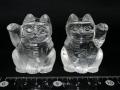 水晶招き猫ペア(中) 約280グラム