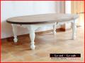 カントリー家具 オーバル型ローテーブル ろくろ脚