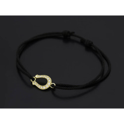 Horseshoe Amulet Cord Bracelet - K18 Yellow Gold w/Diamond
