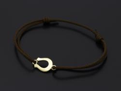 Horseshoe Amulet Cord Bracelet - K18 Yellow Gold
