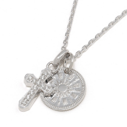 Smooth Cross + Coin Set Necklace - Silver w/CZ