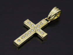 Gravity Cross Pendant - K18Yellow Gold w/Diamond