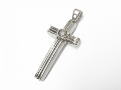 Cutting Cross Pendant - Silver Shiny w/Ash Diamond