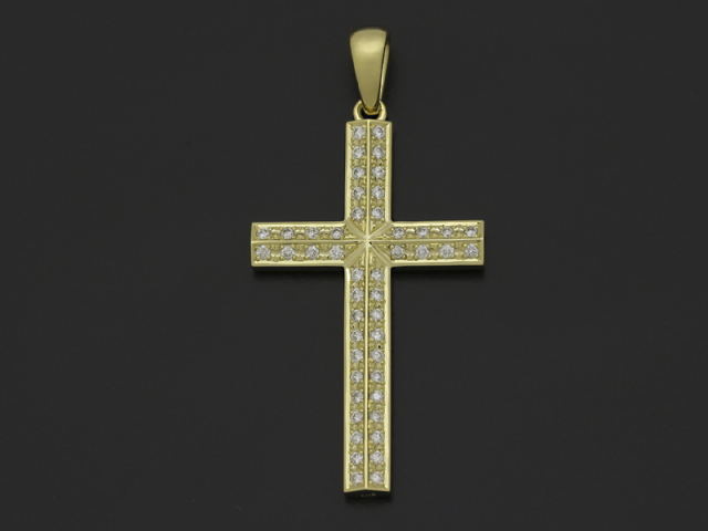 Sympathy of soul ridge cross pendant large sympathy of soul ridge cross pendant large k18yellow gold wdiamond k18 w mozeypictures Gallery