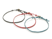 Wax Cord Anklet w/Chipped Coin Button
