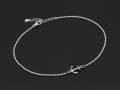 Small Anchor Chain Anklet - Silver